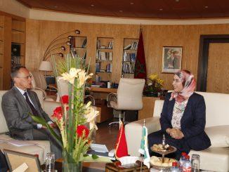 Réunion de travail de Madame Nezha EL OUAFI, et Monsieur José Humberdo de Brilo Cruz, Ambassadeur du Brésil