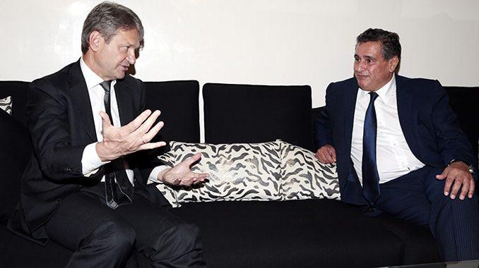 Aziz Akhannouch, ministre de l'Agriculture, de la Pêche maritime, du Développement Rural et des Eaux et Forêts et M. Tkatchev, Ministre de l'Agriculture de la Fédération de Russie
