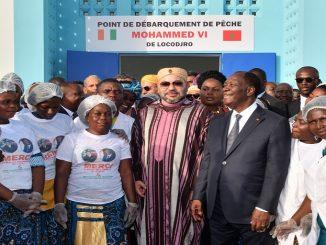 SM le Roi et le Président ivoirien inaugurent le point de débarquement de pêche