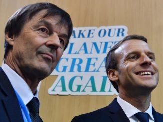 Emmanuel Macron et Nicolas Hulot lors du One Planet Summit
