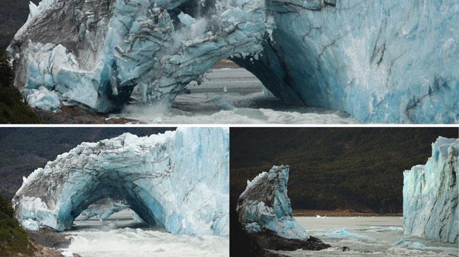 L'arche du gigantesque glacier argentin Perito Moreno, en Patagonie s'est rompue