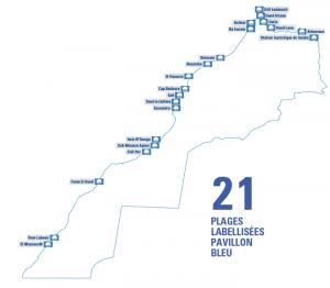 Carte des plages ayant obtenu le label international Pavillon Bleu